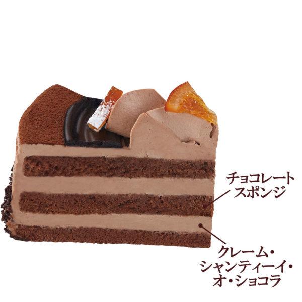 チョコレートホールケーキ断面